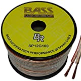 Bass Rockers 12 AWG 100ft Spool Speaker Wire Clear Coating SP12G100