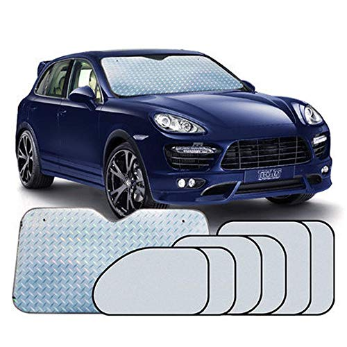 (Vuffuw Car Sunshade, 7 Sets of Laser Car Window Shade Universal 360° All-Round Shading,Protect Your Car from Sun Heat & Glare Best UV Ray Visor Protector Suitable for Most Cars -Silver)