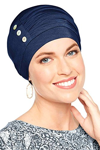 Bamboo Synergy Cap-Caps for Women with Chemo Cancer Hair Loss Luxury Bamboo - Midnight Blue