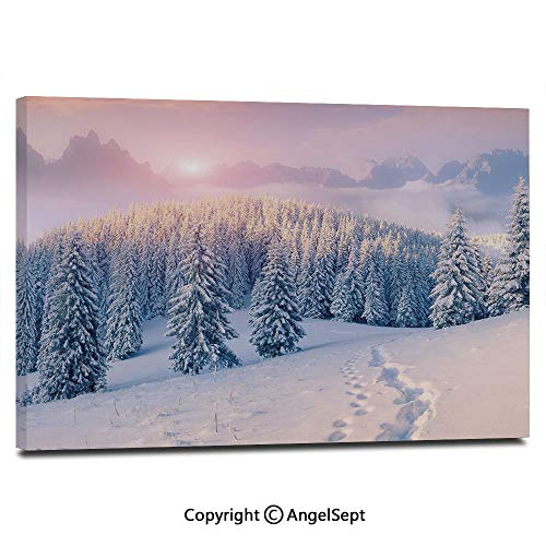 Canvas Prints Modern Art Framed Wall Mural Idyllic Winter Morning in Woodland Rising Sun Pine Trees Forest Snowy Foggy Wall Decorations for Living Room Bedroom Dining Room Bathroom Office,Light Pink ()