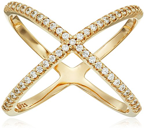 - Yellow-Gold-Plated Sterling Silver Criss Cross