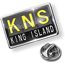 Pin KNS Airport Code for King Island - Lapel Badge - NEONBLOND