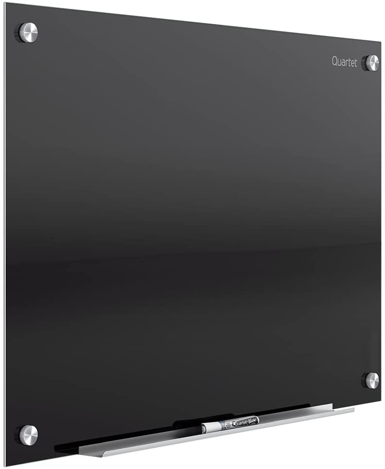 Quartet Glass Whiteboard, Magnetic Dry Erase White Board, 3' x 2', Black Surface, Infinity (G3624B)