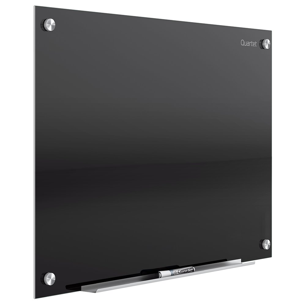Quartet Glass Dry Erase Board, Magnetic Whiteboard, 2' x 1.5' White Board, Black Surface, Infinity (G2418B)