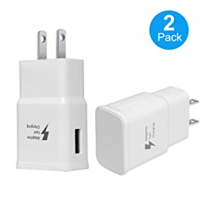 Adaptive Fast Charging Wall Charger Adapter for Samsung Galaxy S6 S7 S8 S9 S10 / Edge/Plus/Active, Note 5,Note 8, Note 9, and More (2 Pack) (White) Aolerx Quick Charge