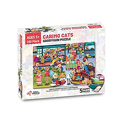 Chalk and Chuckles Goody Gum Cat 100 Piece Jigsaw Puzzle for Kids Ages 5-10 Years, Social Emotional Learning with 5 Acts of Kindness, 24 x 16.5 inches: Toys & Games
