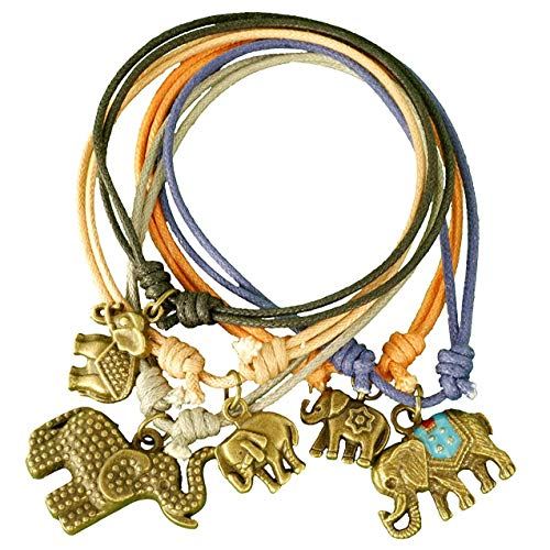 (Stackable Elephant Bracelets for Women - Jewelry Gift Set of 5 Bands - Stretch Rope Bracelets - Handmade with Adjustable Slip Knot - Elephant Gifts for Women for Good Luck,)