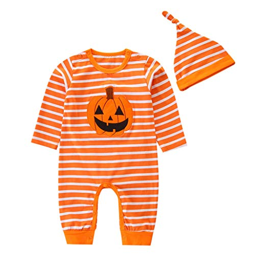 Little Girl Halloween Sets,Jchen(TM) New Style 2Pcs Toddler Baby Kids Boys Girls Pumpkin Striped Print Romper Jumpsuit+Hat Halloween Clothes Outfits for 0-24 Months (Age:6-9 Months, Orange)
