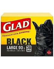 Glad Black Garbage Bags - Large 90 Litres- 30 Trash Bags