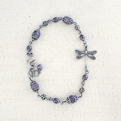 Aqua Blue and Lavender Beaded Bracelet with Antiqued Silver-Plated Brass Dragonfly and Filigree ()