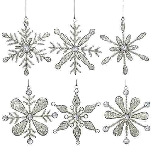 ShalinIndia Set of 6 Handmade Snowflake Iron and Glass Pendant Christmas Ornaments, 6 Inches
