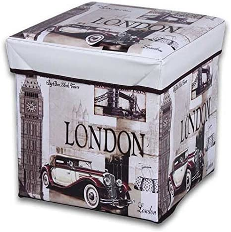 JOCCA - Caja Puff modelo London, 30 x 30 x 30 cm, Beige: Amazon.es ...