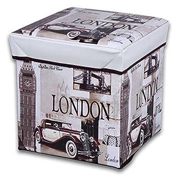 JOCCA - Caja Puff modelo London, 30 x 30 x 30 cm, Beige: Amazon.es: Hogar