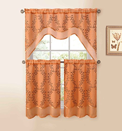 Orange 3-Pc Kitchen Window Curtain Set: Two-Layer Sheer, Vine Embroidery (Vines Embroidery)