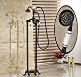 GOWE Floor Mounted Oil Rubbed Bronze Free Standing Bathtub Faucet Shower Bath Tub Filler Mixer Tap
