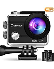Crosstour 4K 16MP Action Cam WIFI Telecomando Subacquea Camera con Microfono Esterno Anti-Agitazione Time-Lapse e 2 Batterie Ricaricabili e 20 Kit di Accessori