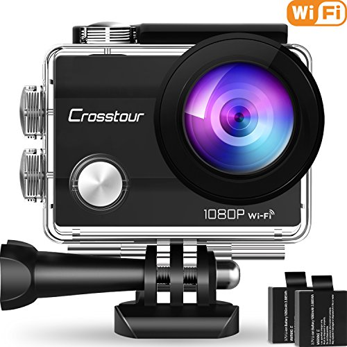 "Crosstour Action Camera Underwater Cam WiFi 1080P Full HD 12MP Waterproof 30m 2"" LCD 170 degree Wide-angle Sports Camera with 2 Rechargeable 1050mAh Batteries and Mounting Accessory Kits (1080P)"