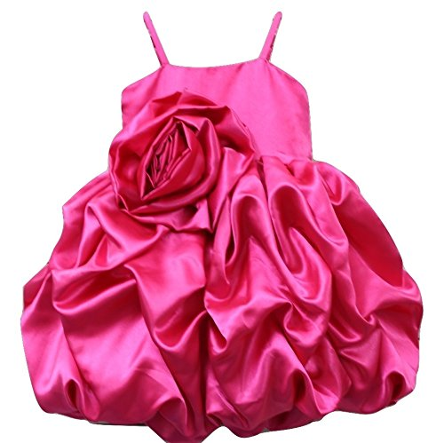 b97b9214f461 Pink Wings Girl s Satin Bubble Hem Frock  Amazon.in  Clothing ...