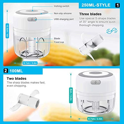 Electric Mini Garlic Chopper Mini Food Chopper Electric Mini Onion Chopper with Two Blade, Vegetable Chopper Mini Chopper for Garlic/Onions/Vegetables/Salad/Pepper