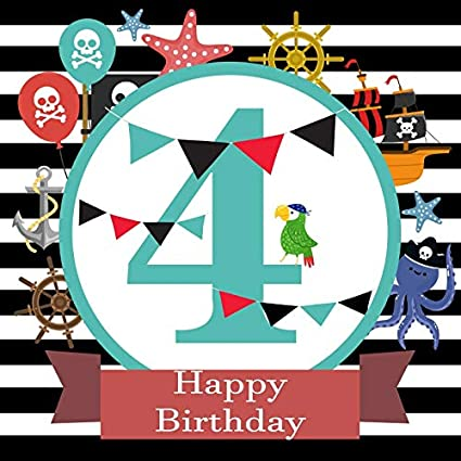 Baocicco 5x5ft Happy Birthday Backdrop 4th Party Pirate Theme Treasure Hunt Banners Parrot White And