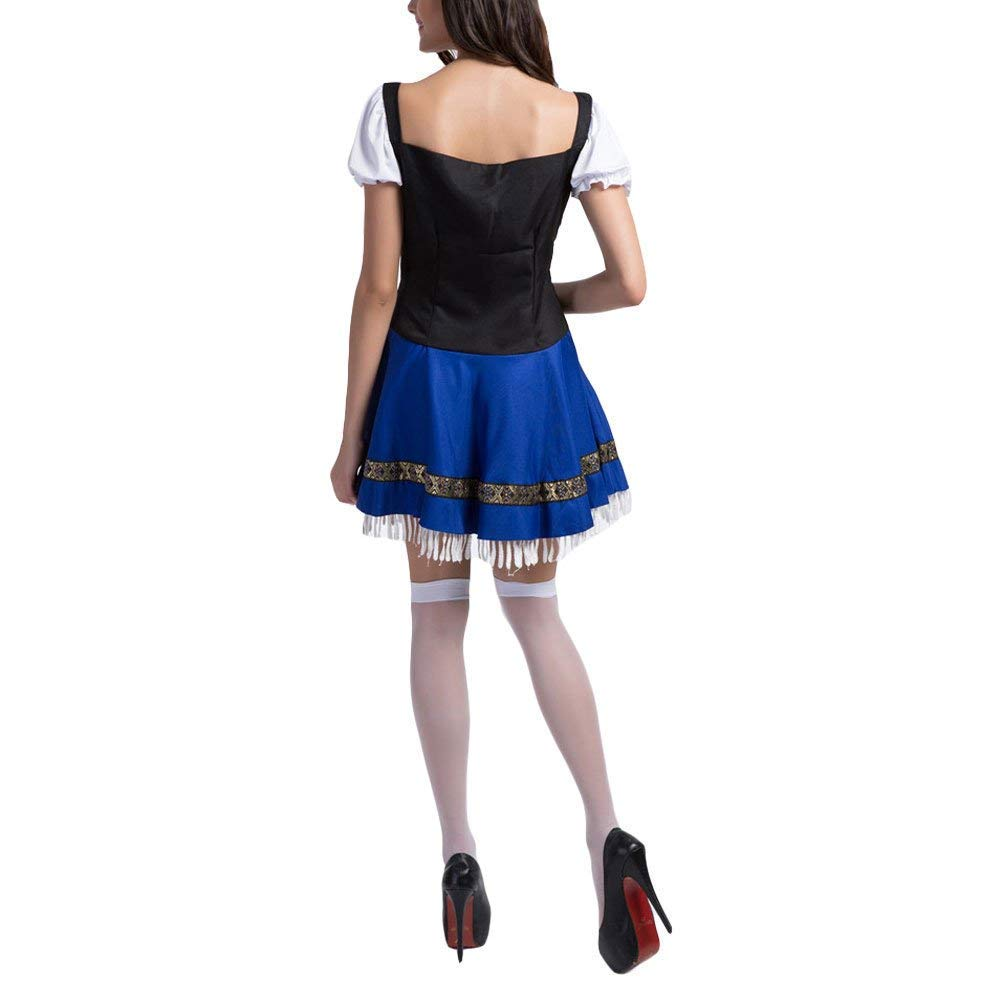 Slimate Women's Oktoberfest Costume Bavarian Beer Maid Dress Halloween Outfits,White,Tag 2XL=US L by Slimate (Image #4)