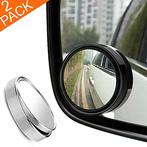"""RearX Blind Spot Mirror, 2"""" Round 360 Degree Adjustable HD Glass and ABS Housing Convex Wide Angle Rear View Mirror for Universal Car Fit w/ 3M Stick on Adhesive, 2 Pack (Black)"""
