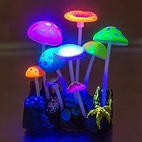 UEETEK Kunstmatige gloeiende siliconen paddenstoelen voor aquarium decoratie