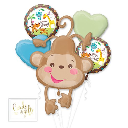 (Andaz Press Balloon Bouquet Party Kit with Gold Cards & Gifts Sign, Monkey Safari Baby Shower Foil Mylar Balloon Decorations,)