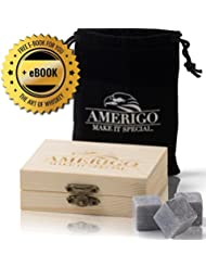 Premium Whiskey Stones by Amerigo - Water Down Your Whiskey? Never Again ! Set of 9 Chilling Whiskey Rocks - Packaged...