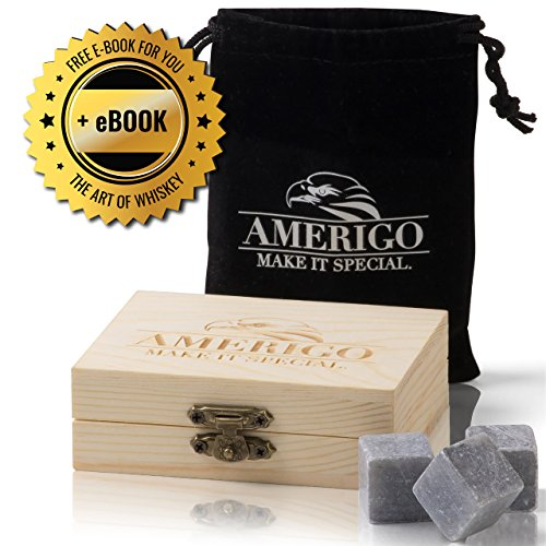 Premium Whiskey Stones by Amerigo - Water Down Your Whiskey? Never Again ! Set of 9 Chilling Whiskey Rocks - Packaged in an Exclusive Wooden Gift Set - Ice Cubes - Drinking Rocks - Free Velvet Pouch