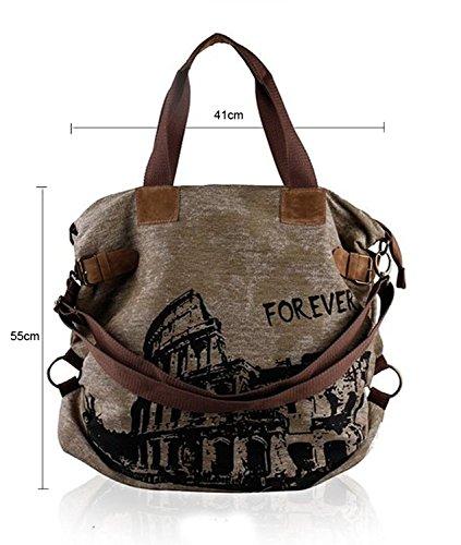 Borsa a Spalla Donna Retro Vintage Tela Borsa Spiaggia Mare Shopper Bag 55x41x17cm - LATH.PIN