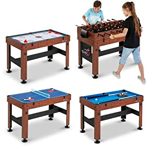 54″ 4-in-1 Combo Entertainment Game Table with Soccer, Slide Hockey, Table Tennis, and Billiards (54″, 4-in-1 Games)