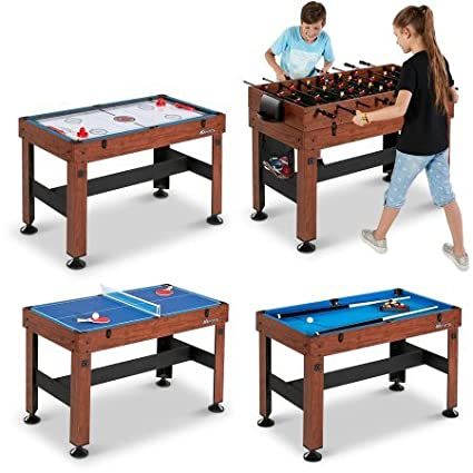 54 4-in-1 Combo Entertainment Game Table with Soccer, Slide Hockey, Table Tennis, and Billiards