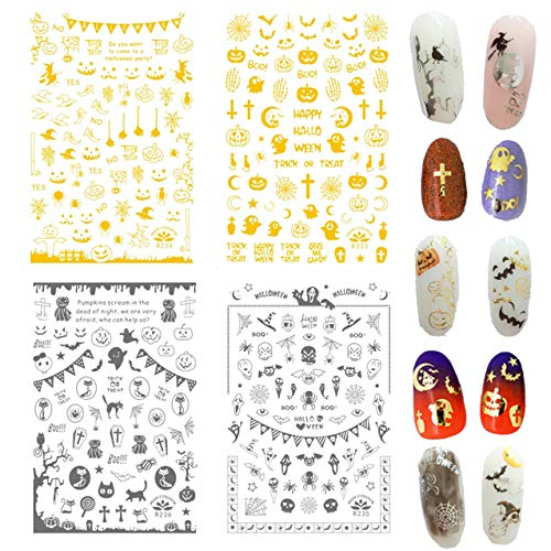 TailaiMei Halloween Nail Decals Stickers, Self-adhesive 3D Metallic DIY Nail Art Tips Stencil for Halloween Party, Include Pumpkin/Bat/Ghost/Witch etc.(4 Sheets, 277 Pcs)]()