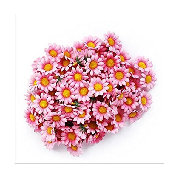 100Pcs Artificial Flower Heads Gerber Daisy Sunflower Heads Silk Fake Pink Flower Heads for Wedding Party Flowers Decorations Home D¨¦cor Pink
