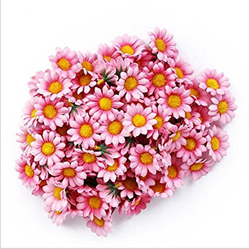 100Pcs Artificial Flower Heads Gerber Daisy Sunflower Heads Silk Fake Pink Flower Heads for Wedding Party Flowers Decorations Home D¨¦cor Pink (Wedding Gerber Pink Daisy)