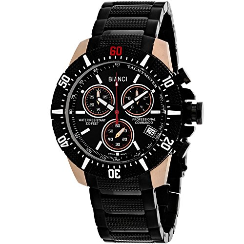 ROBERTO BIANCI WATCHES Men's 'Fontana' Swiss Quartz Stainless Steel Casual Watch, Color:Black (Model: RB18763)