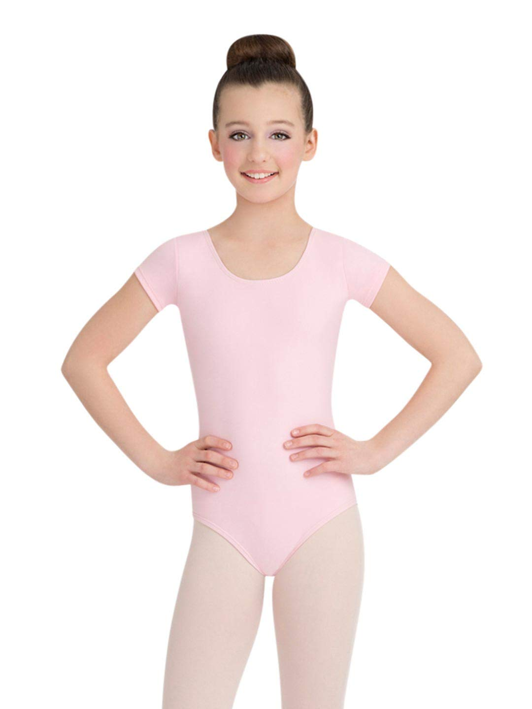 Capezio Girls Short Sleeve Leotard, Pink, Intermediate by Capezio