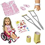 arm cast stickers - Doll Wheelchair Set with Accessories for 18 Inch Dolls Like American Girl Dolls + BONUS Accessories