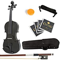 Mendini Solid Wood Violin with Hard Case, Bow, Rosin and Extra Strings (1/2, Black)