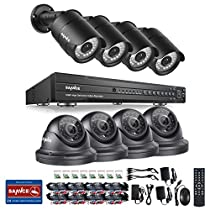 SANNCE 1080P 16CH DVR Video Security System and (8) 1080P CCTV Cameras with Hi-Resolution, IP66 Weatherproof Housing, 100ft Superior Night Vision, NO HDD