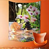 Auraisehome Tapestry Wall Tapestry Massage Composition spa with Candles Orchids and Black Stones in Garden Art Wall Decor 70W x 84L INCH
