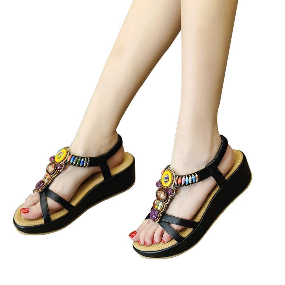 6481d4f41 ... Chancletas Zapatos de Plataforma Plana Costura Peep Toe Sandalias de  Cerrojo Playa Zapatos Ampliar imagen