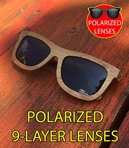 Madera Bambú de Sol Wayfarer de Polarizadas Lonwood Unisexo Caja en Gafas Redondeada DINOMADic 6vxEqx