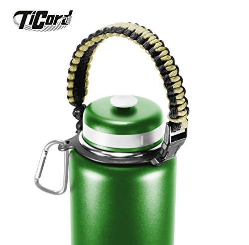 Water Bottle Carrier - TiCord is Stylish Paracord Holder and Survival Bracelet - Perfect For Outdoor Sports, Fitness, (Paracord Bracelet Holder)