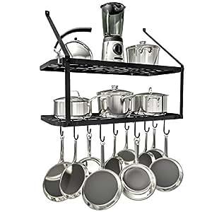 Amazon.com: VDOMUS Shelf Pot Rack Wall Mounted Pan Hanging ...