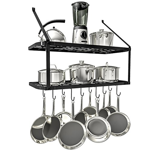 VDOMUS Shelf Pot Rack Wall Mounted Pan Hanging Racks 2 Tire - Pot Small Iron Rack