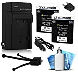 (2 Pack) PhotoMate BP-727 BP727 Ultra High Capacity Rechargable Battery (3500mAh) + Rapid Home AC Wall Charger + Car Adapter + Euro Plug + Cleaning Kit + Mini Tripod for Canon VIXIA HF R30, R32, R300, R40, R42, R400, R50, R52, R500, M50, M52, M500, HFR30,
