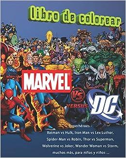 amazon dc vs marvel superhéroes libro de colorear batman vs hulk
