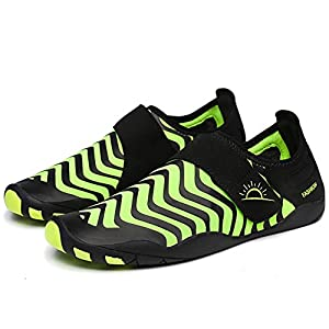 L-RUN Water Shoes Mens Barefoot Quick-Dry Aqua Sneakers Amphibious Green XXL(M:10-11)=EU 43-44